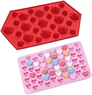 Allforhome 3D Diamond Gem and 55 Mini Heart Shape Silicone Ice Cube Tray Fondant Chocolate DIY Mold Resin Clay Candy Mold Mould (Set of 2)