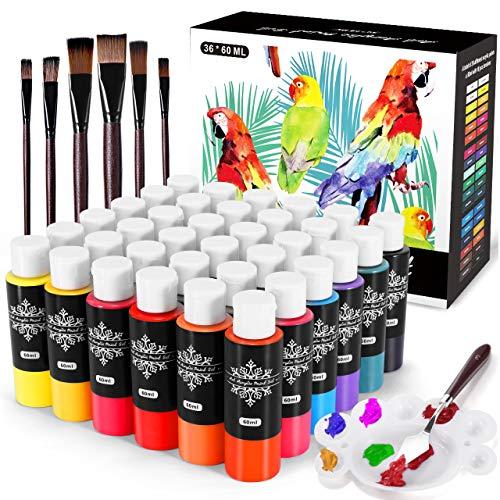 Gifort Juego de Pintura Acrílica, 36 x 60 ml, pigmento de pintura acrílica impermeable para pintar sobre madera, cerámica, tela y sin decoloración, ideal para principiantes y profesionales
