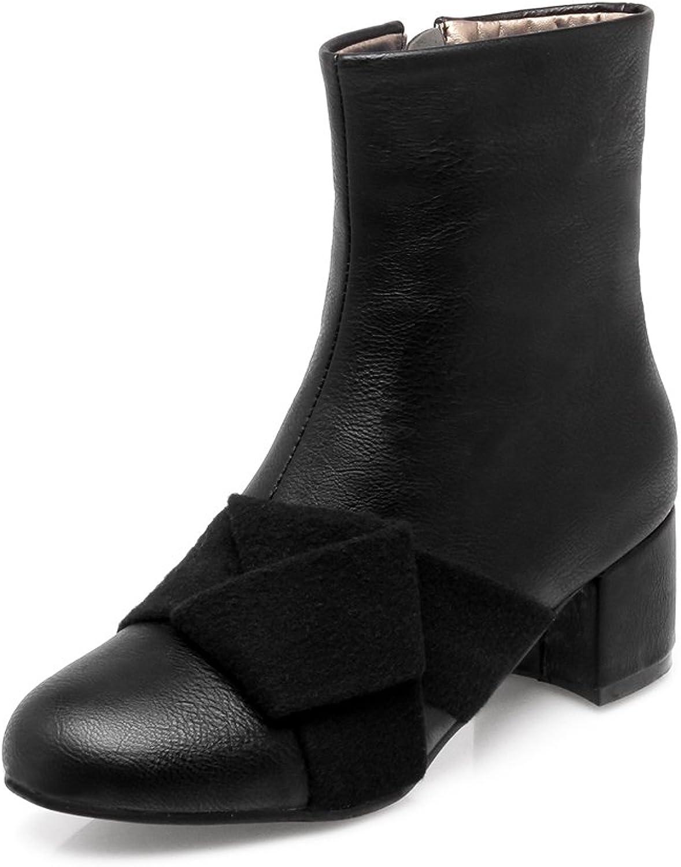 AIWEIYi Womens Faux Suede Ankle Boots Fur Lining Block Heel Platform Dress shoes Black