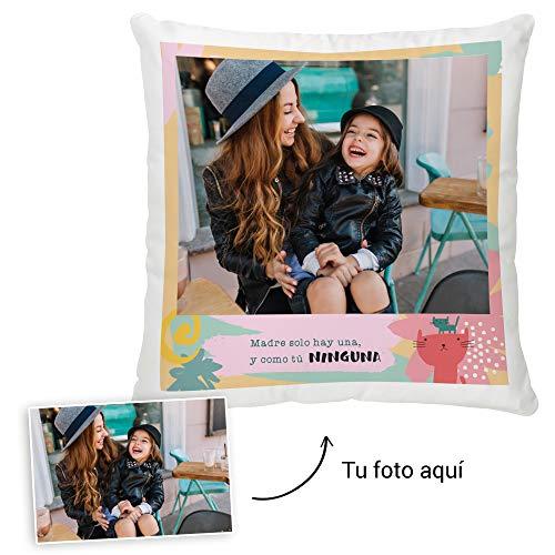 Fotoprix Cojín Personalizado con Foto para Mamá | Regalo Original día de la Madre | Varios diseños Disponibles. (Diseño: Madre 2, 35 x 35 cms)