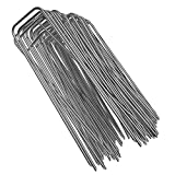 GROWNEER 100 Packs 6 Inches Heavy Duty 11 Gauge Galvanized Steel Garden Stakes Staples Securing Pegs for Securing Weed Fabric Landscape Fabric Netting Ground Sheets and Fleece