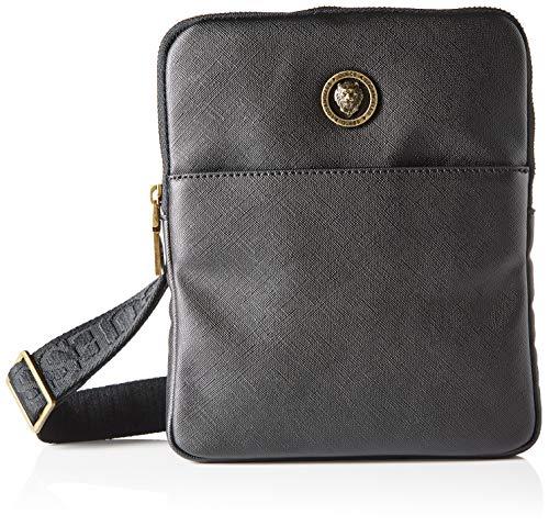 Guess Men's King Mini Flat Crossbody Bags, Black, 19x23x2 cm