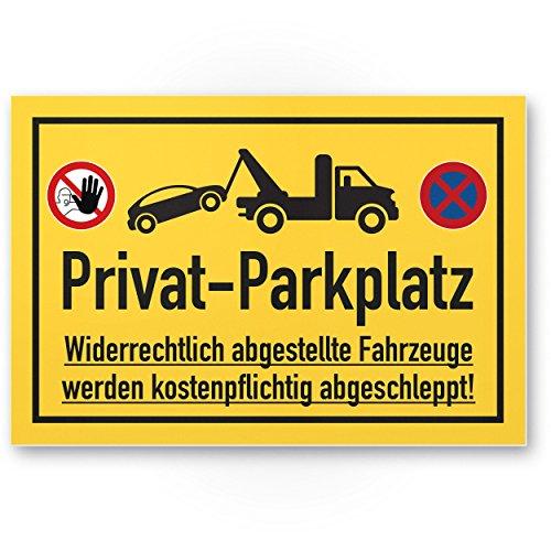 Privat Panneau parking – Panneau (Jaune, 30 x 20 cm), panneau, verbot Panneau de parking Plaque – Avertissement voitures et véhicules, Env. – Privat Parking,