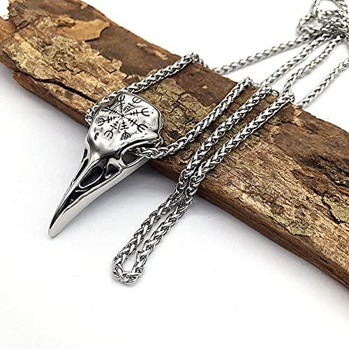 Collar De Calavera De Cuervo De Odin, Mitología Nórdica Edad Media Viking Helm of Awe Rune Talisman Colgante, Joyería De Acero Inoxidable Vintage para Hombres
