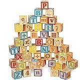 HNaGRDMMP Hölzerne Alphabet-Blöcke |ABC Building & Stacking Blocks/Cubes for Kleinkinder, Kinder, Kinder im Vorschulalter |Vocabulary Gebäude pädagogisches Spielzeug
