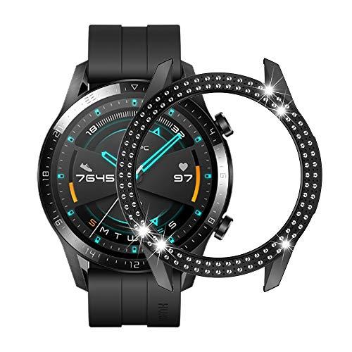 Cellphoneparts BZN Smart Watch Case per Huawei GT2 46mm PC Diamond Diamond Watch Case (Color : Black)