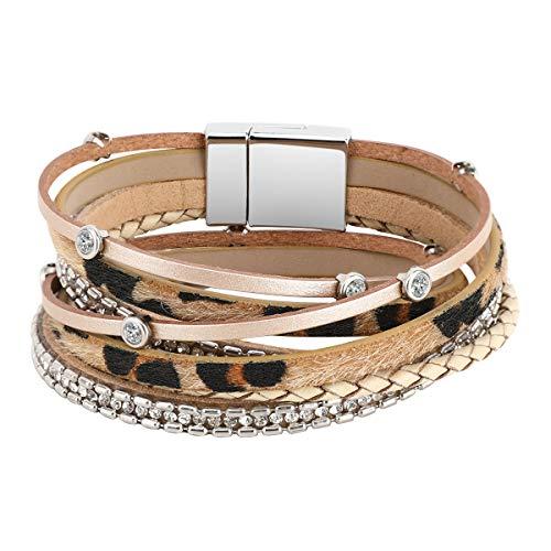 Pulsera de cuero en capas Emibele, estilo bohemio multicapa doble bucle Wrap pulsera con incrustaciones de cristal y correa de cuero con estampado de leopardo y cuerda trenzada para mujeres - Caqui
