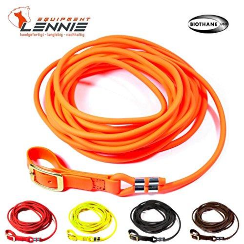 LENNIE BioThane Schweißleine 8 mm rund in 5 Farben [Neon-Orange] / 5-30 Meter [10m] / Messingschnalle genäht
