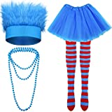 Costume Party Accessories Set, Blue Fuzzy Costume Headband Wig, Blue and Red Striped Knee Socks, Tutu Skirt and Blue Bead Necklace for Cosplay Halloween Costume Supplies