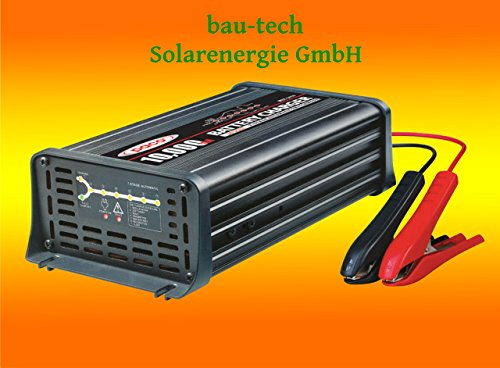 Batterieladegerät 12V, 10 Amper, 7-Stufen IUoU Automatik, Blei Calcium VRLA AGM GEL Nass von bau-tech Solarenergie GmbH
