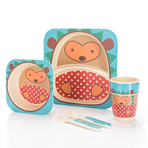 Vajilla infantil de 5 piezas de All Kids United, fabricada en bambú y con 9 diseños disponibles