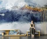 Fotomurales Paisaje de montaña de pintura al óleo azul blanco Papel pintado tejido no tejido Decoración de Pared decorativos Murales moderna Diseno Fotográfico 200x150 cm -4 pieces