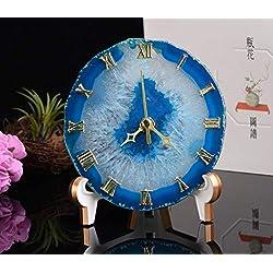 JIC Gem Natural Agate Crystal Stone Clock Home Decoration Best Gift for Desk and Bedroom 12-13 cm