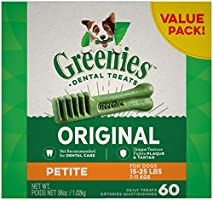 GREENIES Original Petite Dental Dog Treat, 1kg (60 treats), Puppy/Adult, Small