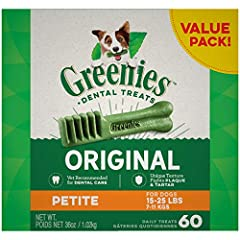 Contains one (1) 36 oz. 60-count pack of Greenies Original Petite Natural Dental Dog Treats; Natural Dog Treats Plus Vitamins, Minerals and Other Nutrients The unique texture of Greenies Dog Chews cleans down to the gumline to fight plaque and tartar...