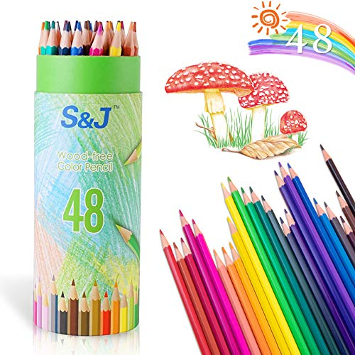 Matite Colorate per Adulti e Bambini - Astuccio da 48,Matita colorata triangolare,Matite in Legno per Colorate,Matite Colorate Professionali da Disegno,Matita Colorata Cancellabile