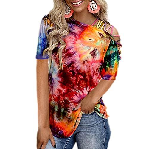 Blusa Mujer Personalidad Generoso Verano Cuello Diagonal Mujer T-Shirt Moda Tie Dye Impresión Sin Tirantes Diseño Diario Casual Ligero Suave All-Match Mujer Manga Corta D-Multicolor M