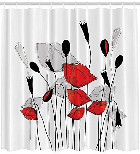 BBFhome ourlet lesté Rideaux de douche Rideau 120 x 180 floraison des coquelicots Coquelicots Prints Décor floral Bouquet Jardin branches Carnation bourgeons trèfle de germination fleur salle de bain en tissu noir rouge et blanc