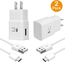 Samsung Fast Charger,Hzrfun USB Wall Charger Adaptive Fast Charger Kit Type C Compatible with Samsung Galaxy S10/S9/S8 Plus/S10E,Type-C Charging Kit Includes 2 Charging Adapter & 2 Type-C Cable White