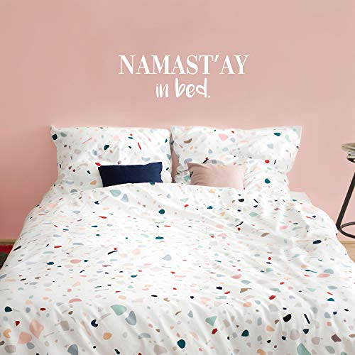 Vinyl Wall Art Decal - Namast'ay in Bed - 10.5' x 33' - Witty Modern Lazy Humorous Home Apartment Indoor Bedroom Household Indoor Dorm Room Decoration Peel and Stick Decals (10.5' x 33', White)
