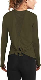 Long Sleeve Workout Shirts for Women Tie Back Yoga Exercsie Tops Thumb Hole Shirts