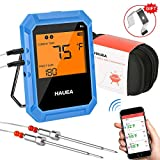 HAUEA Bluetooth Meat Thermometer, Wireless Meat Thermometer for Grilling with 2 Stainless Steel