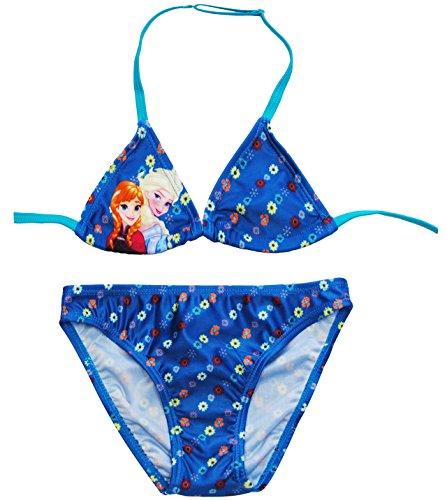 alles-meine.de GmbH Bikini / Triangel Bikini -  Disney - Frozen / die Eiskönigin  - Größe 7 bis 8 Jahre - Gr. 134 bis 140 - für Mädchen Kinder - blau & türkis / Zweiteiler - zw..