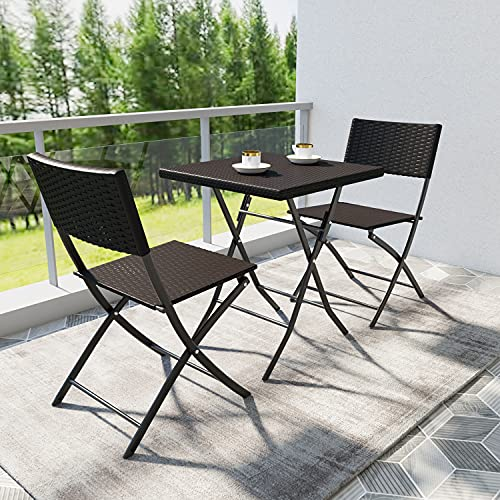 Joolihome Garden Furniture Set, Brown Folding Rattan Table and 2 Chairs, 3 Piece Indoor Outdoor PE Wicker Weave Set for Patio, Backyard, Balcony, Porch, Lawn, Poolside, Cafes, Bistro, Courtyard
