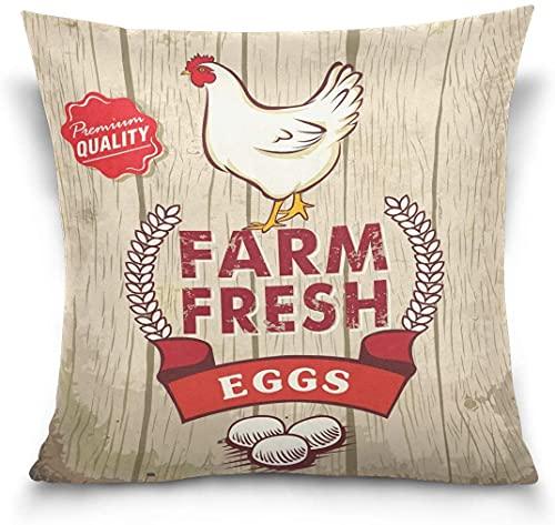 Throw Pillow Case Funda de cojín Decorativa Funda de Almohada Cuadrada, Retro Fresh Egg Rooster en sofá de Madera Funda de Almohada (18 x 18 Pulgadas)