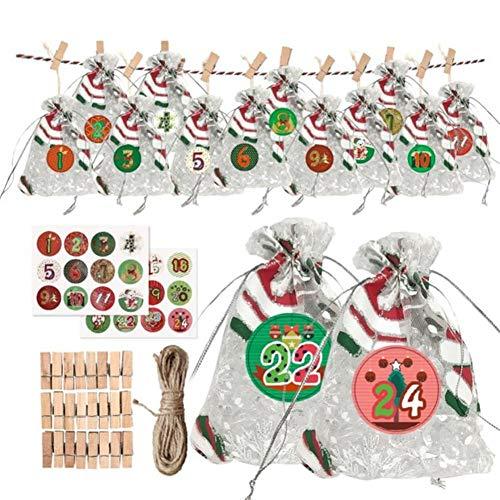 24 días colgando Calendarios de Adviento Garland Candy Gift Bags | Bolsas de tela de calendario de Adviento de cuenta regresiva de Navidad DIY para decoraciones navideñas de oficina en el hogar