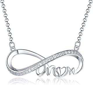 Women's Silver Necklace Love Heart Pendant Mother Necklaces Crystal Chain Jewelry Mother's Day Christmas Thanksgiving Day Gift