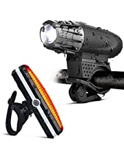 Gluckluz Flashlight LED Bright Tactical Flash Light with 3-Head Torch for Cycling Hiking Riding Camping Outdoor (USB Rechargeable)