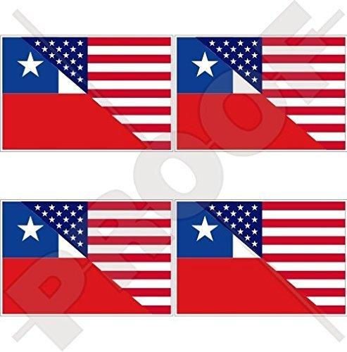 USA Vereinigte Staaten von Amerika und CHILE, Amerikanisch und Chilenische Flagge, Fahne 50mm Auto & Motorrad Aufkleber, x4 Vinyl Stickers