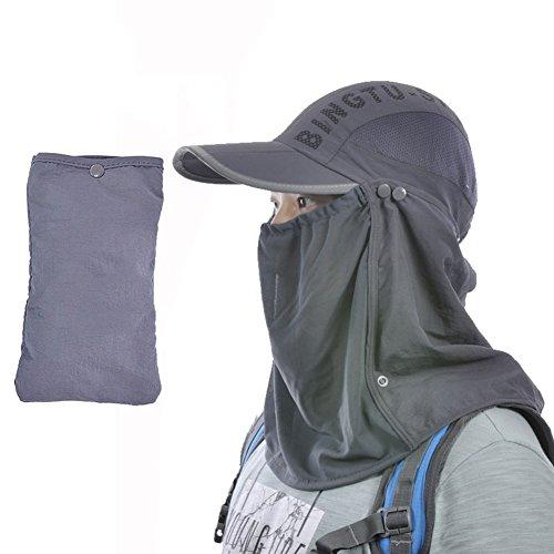 Chapeau Chapeau d'été, Sun Hat Hommes à séchage Rapide Tissu Pliable avec Voile Mesh Respirant Sunshading Light Thin, 5 Couleurs en Option (Couleur : Gris foncé)