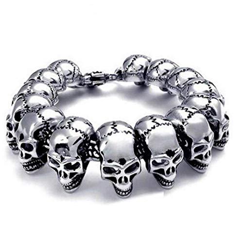 DINEGG 1 UNID Hombre Punk Rocker Cráneo Pulsera Pulsera Hombres Acero Inoxidable Joyería Esqueleto Pulseras Brazaletes QQQNE