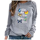 Zldhxyf Camiseta de manga larga para mujer, cuello redondo, blusas, informal, camisas, sudadera, moderna, elegante, adolescente, niña, gris, M