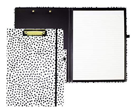 Cute Clipboard Folio with Refillable Lined Notepad and Interior Storage Pocket for Women, Stylish Black and White Clipfolio, Black Dots