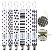 Babygoal Pacifier Clips, 6 Pack Pacifier Holder for Boys and Girls Fits Most Pacifier Styles,Teething Toys and Baby Shower Gift 6PBM05-HZ