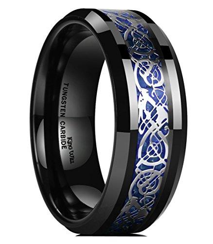 King Will Dragon Mens 8mm Black Tungsten Carbide Ring Blue Carbon Fiber Celtic Dragon Wedding Band 12