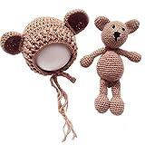 Frecoccialo Unisex Neugeborene Fotografie kostüm Gestrickte Mütze und Puppe Set Fotoshooting...