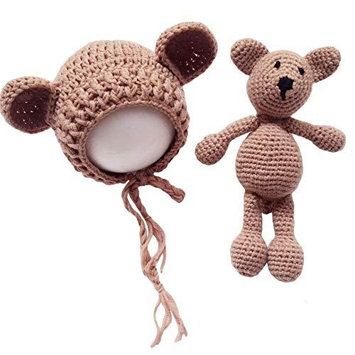 Frecoccialo Unisex Neugeborene Fotografie kostüm Gestrickte Mütze und Puppe Set Fotoshooting Requisiten Funny Bekleidung (0-9M)