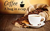 Coffee-a Hug in a Cup - wall Decal - sticker - 22'wide X 10.5'high - black or White