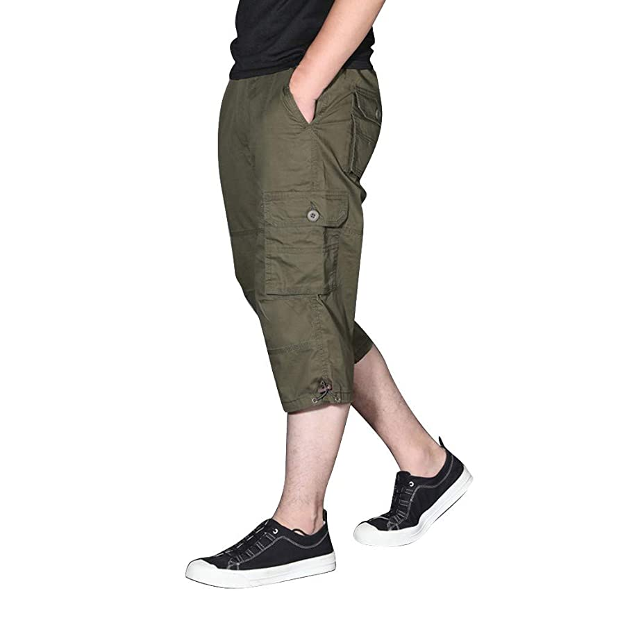 Mbtaua Men Pants Men's Summer Fashion Outdoor Sports Cargo Shorts with Multi-Pocket Overalls Pants