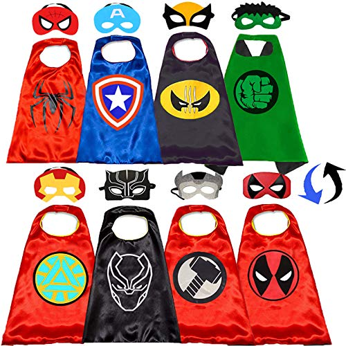 Superhero Capes and Mask for Kids Superhero Costumes Double Side Capes Superhero Toy 4-10 Year Kids Best Gifts