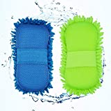OMANZA Multipurpose Car Washing Sponge with Microfiber Washer & Dry Towel Duster for Cleaning Car, Bike Vehicle, 2 Piece - Multi Color