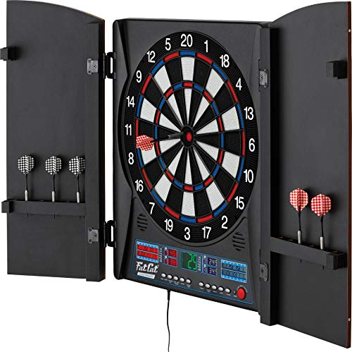 Fat Cat Electronx Electronic Dartboard, Built In Cabinet, Solo Play With Cyber Player, Dual Screen Scoreboard Display, Extended Catch Ring For Missed Darts, Classic Door Look Matches Traditional Décor