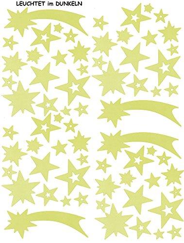 alles-meine.de GmbH 51 Stück: Fenstersticker - Leuchtet im Dunkeln -  Sterne & Sternschnuppe am Himmel  - statisch haftende Fensterbilder -  Glow in The Dark !  - Leucht Figu..
