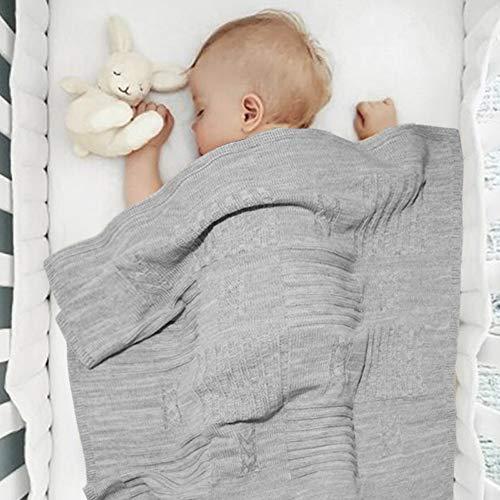 Twosteps Neugeborene decken gemischte Wolle Merino - Winter warm gehäkelte Mesh weiche Wicklung elegant - Krankenhaus Krippe Ovetto Nacelle Kinderwagen Kinderwagen 85x85 Universal Col.Grigio
