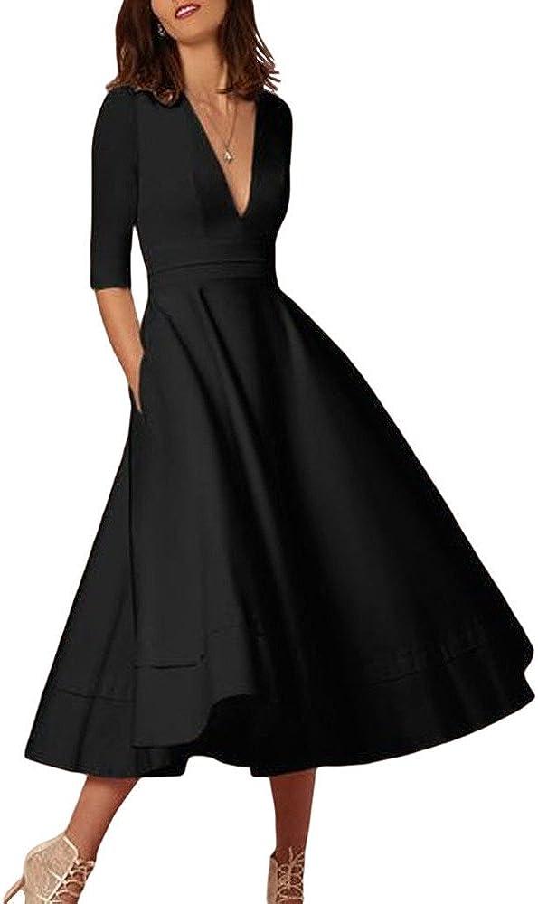 Women's Elegant Half Sleeve Deep V Neck Ruched Waist Vintage Cocktail Business Formal Swing Dress