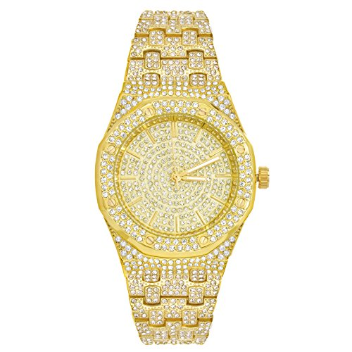 Lab Diamond Simulated Gold Plated Iced CZ Hip Hop Rapper AP Watches WM 8651 G